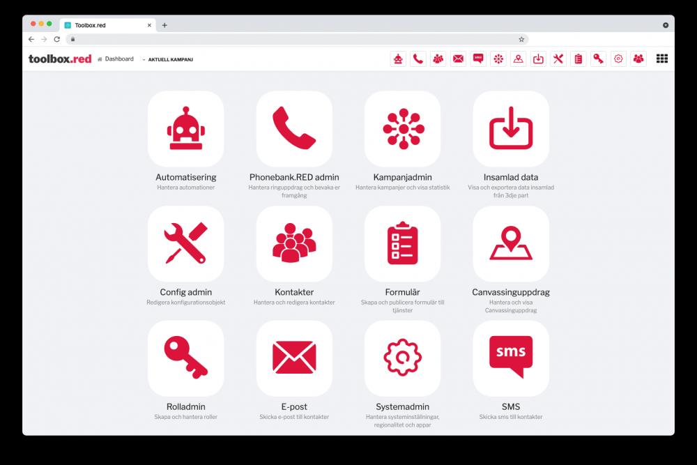 En bild på verktyget Toolbox med många olika ikoner
